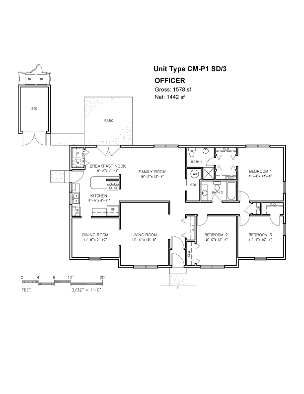 Three Bedroom House Layout